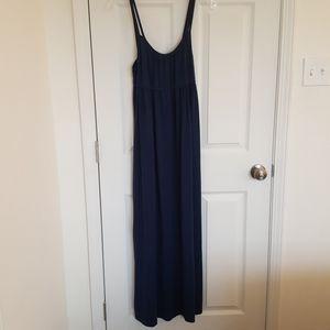 Navy blue double spaghetti strap maxi dress